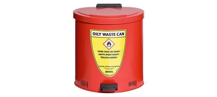 Flamsläckande avfallsbehållare