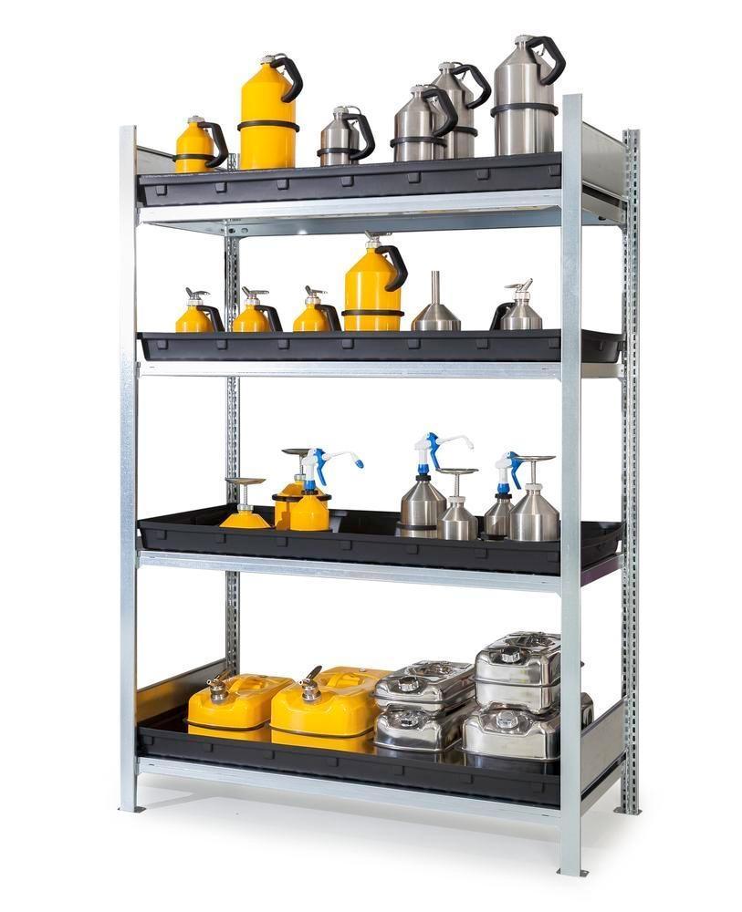 Hyllställ för aggressiva kemikalier GKG 1360, 4 PE-kärl, 1 360 x 640 x 2 000 mm, grundutförande
