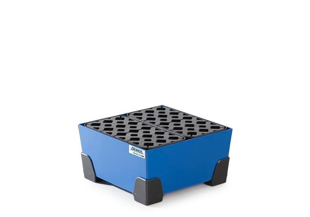 Uppsamlingskärl för småbehållare 25 liter, av stål, lackerat, PE-galler, 392x392x200 classic-line