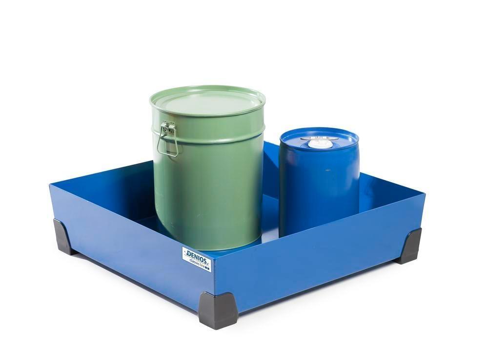 Uppsamlingskärl för småbehållare 102 liter, av stål, lackerat, 774x774x200 classic-line