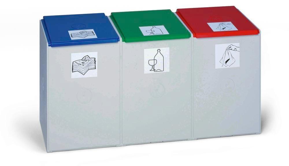 Modulsystem för avfallsåtervinning, 3 element (utan lock), volym 40 liter