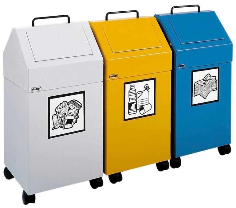 Brandhämmande återvinningskärl AB 45-F, stål, infästningsanordning för sopsäckar, flyttbar, grå