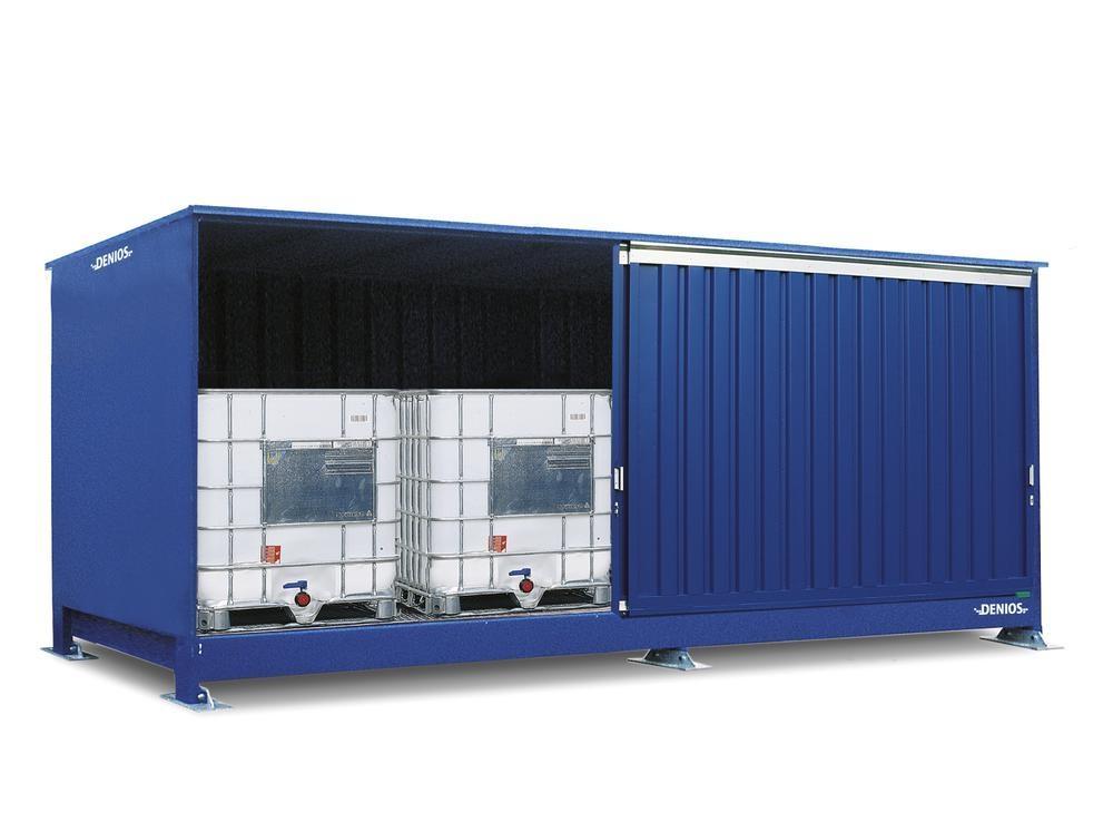Miljöcontainer SC 1K 514.OTE-ISO A, för förvaring av brandfarliga ämnen, med skjutdörrar