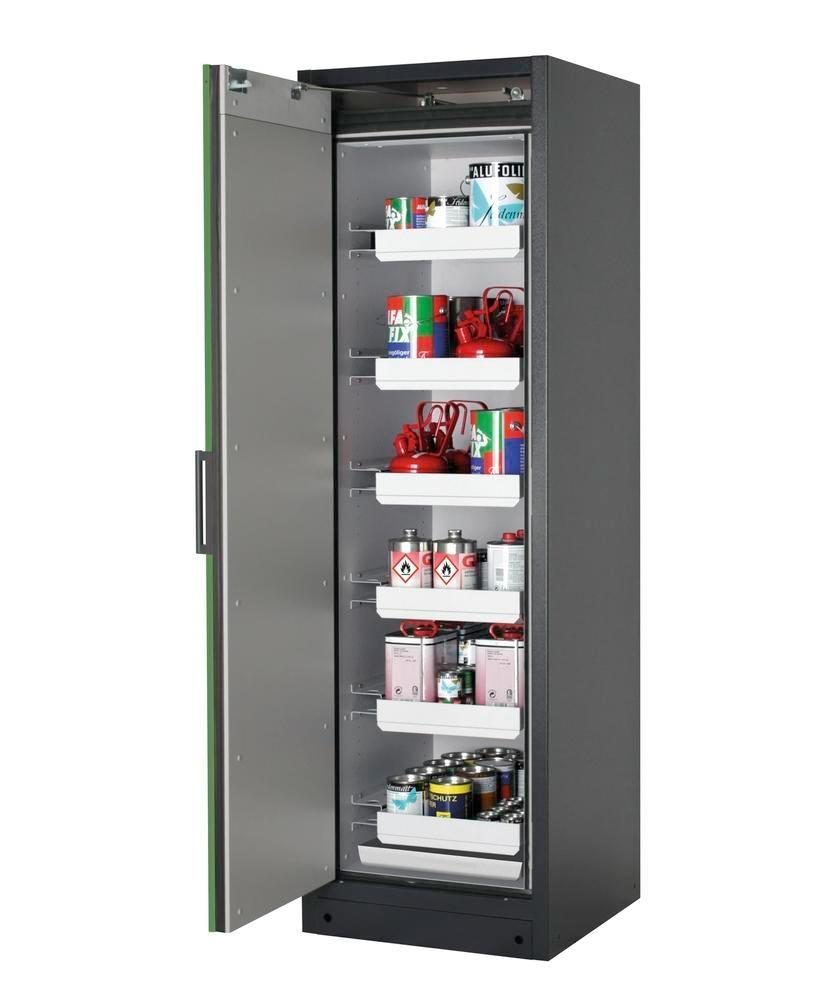 Brandsäkert skåp Select W-66L för kemikalier, vänsterhängd dörr, antracitgrå stomme, grön dörr
