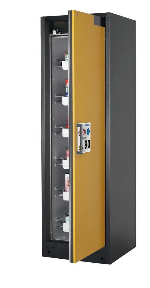Brandsäkert skåp Select W-66R för kemikalier, högerhängd dörr, antracitgrå stomme, gul dörr