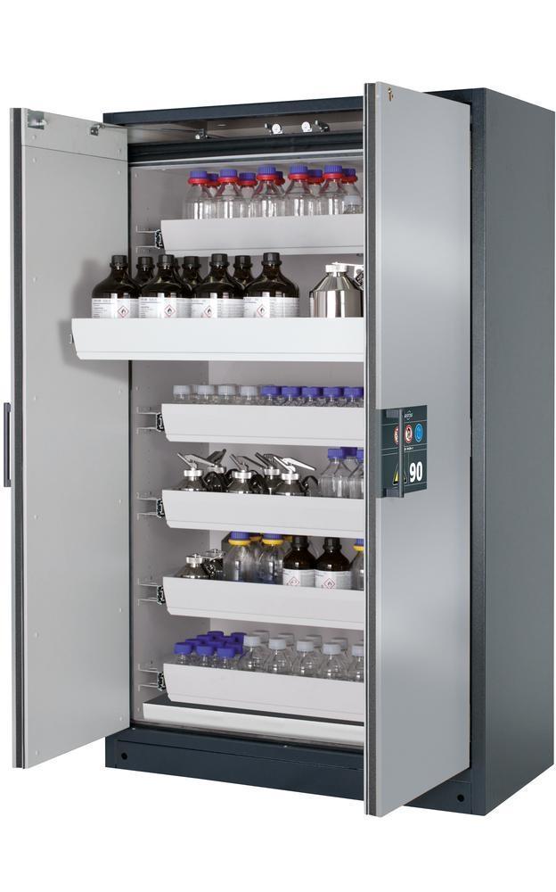 Brandsäkert skåp för kemikalier Select W-126, silverfärgad dörr, stomme antracit, med 6 utdragskar