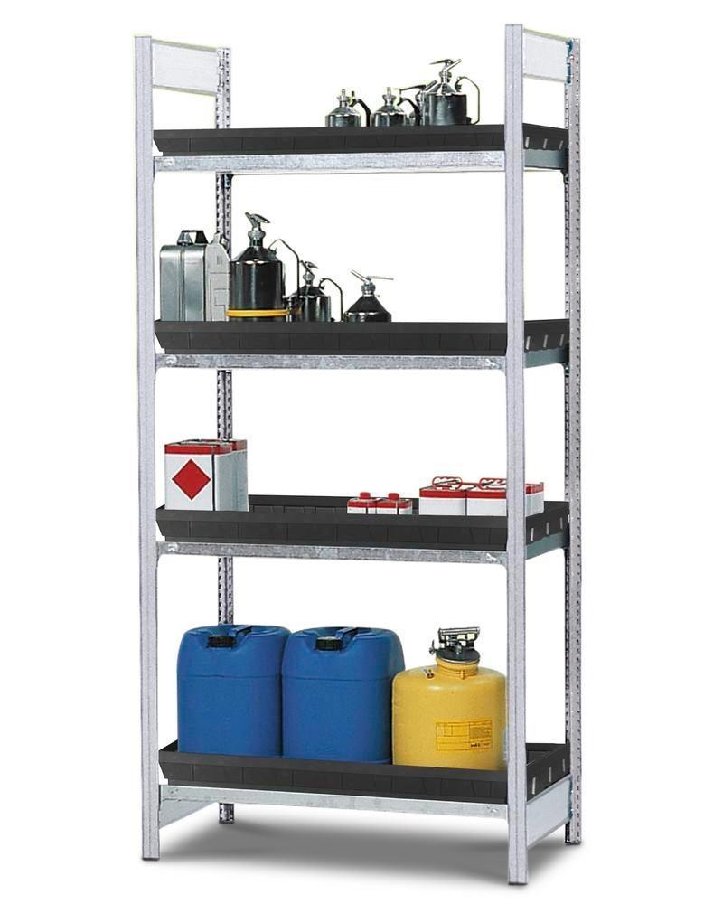 Hyllställ för aggressiva kemikalier GKG 1060, 4 PE-kärl, 1 060 x 640 x 2 000 mm, grundutförande