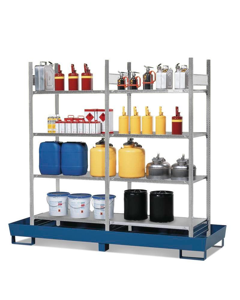 Hyllpall RPF 2060 för brandfarliga ämnen, lackerat uppsamlingskärl, 8 förzinkade hyllplan