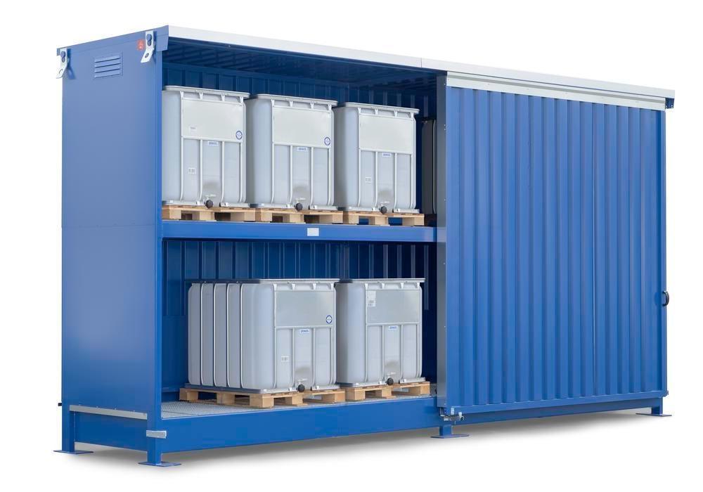 Miljöcontainer SC 2K 714.OTE-ISO A, för förvaring av brandfarliga ämnen, med skjutdörrar