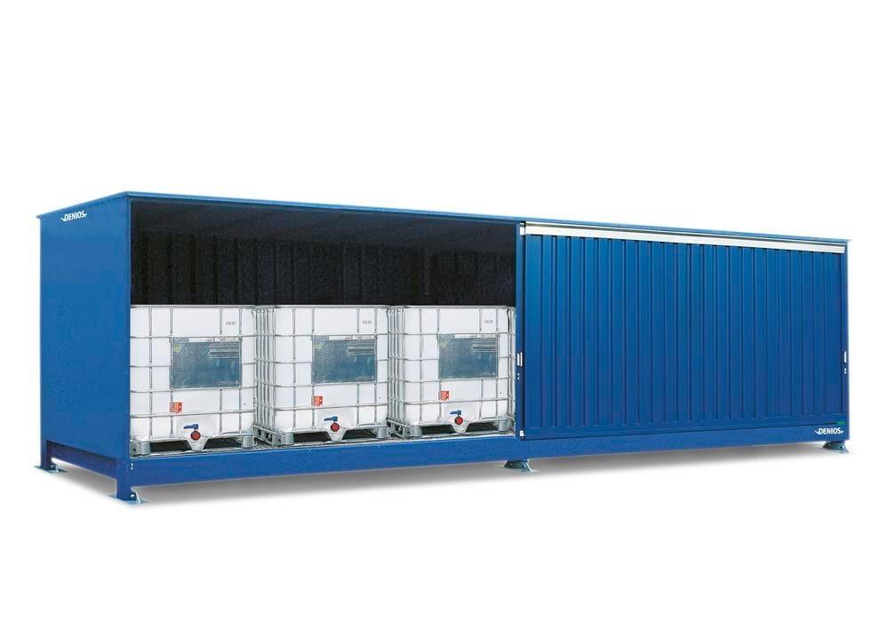 Miljöcontainer SC 1K 714.OST-ISO B, för förvaring av miljöfarliga ämnen, med skjutdörrar