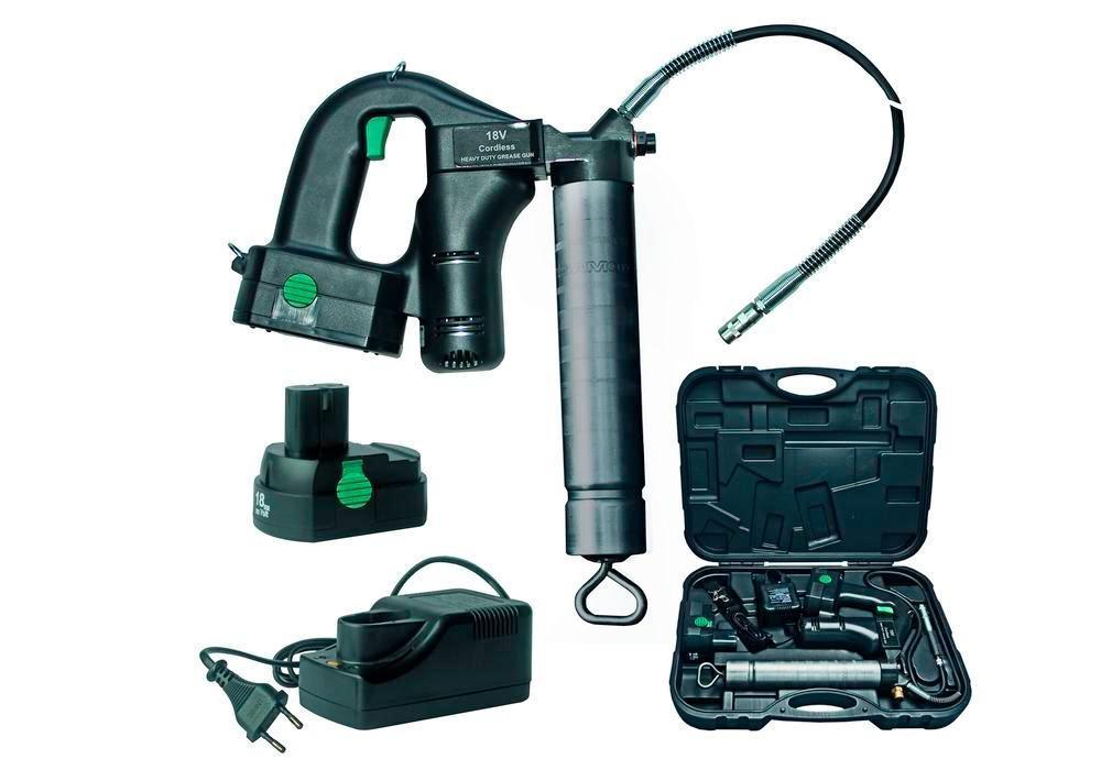 Batteridriven fettpress AP4-K, 400 bar, i väska med slang, munstycke, 2 batterier och laddare