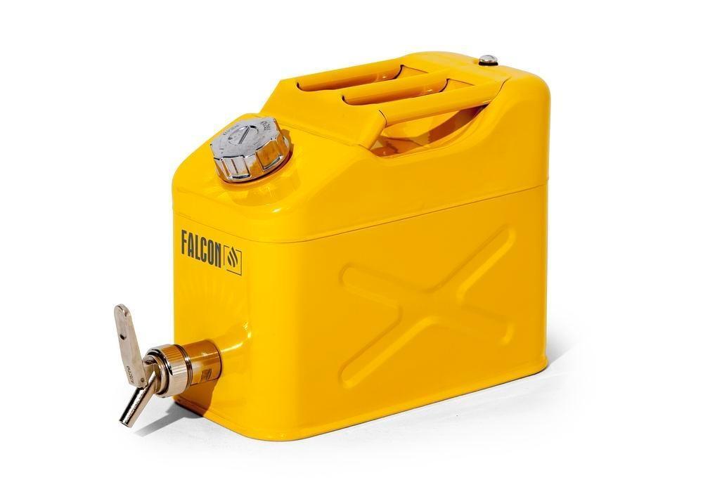 FALCON Säkerhetskanna av stål, med avtappningskran, gul, 10 l