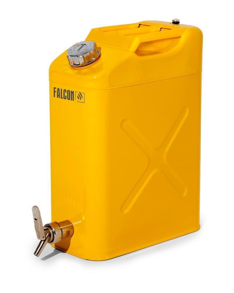 FALCON Säkerhetskanna av stål, med avtappningskran, gul, 20 l