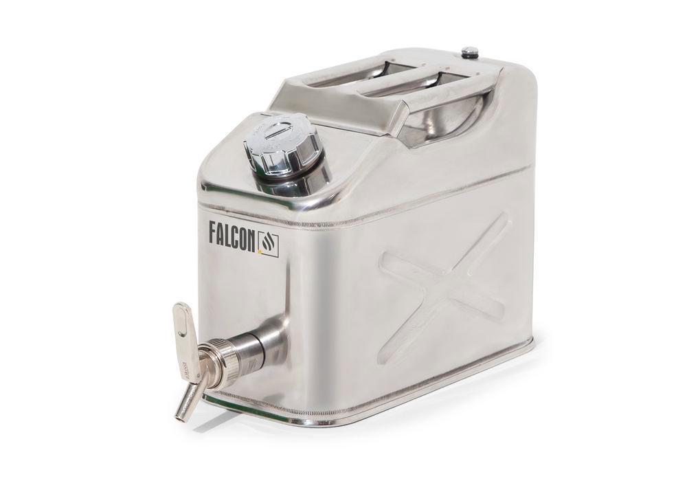 FALCON Säkerhetskanna av rostfritt stål, med avtappningskran, 10 l